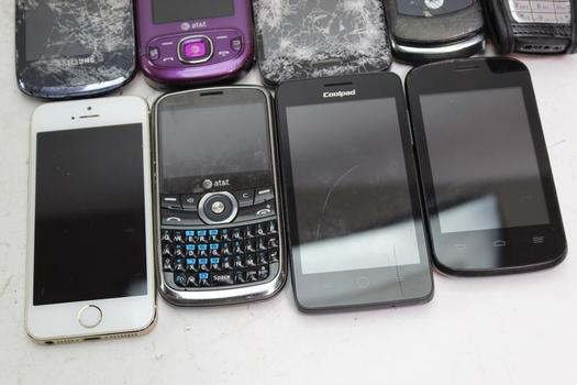 Apple, Samsung And More Cell Phone Lot, 9 Pieces, Sold For Parts