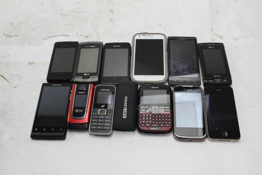 Apple, Samsung, Motorola+ More Cell Phone Lot,  13 Pieces, Sold For Parts