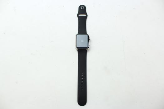 Apple Watch Series 2 (GPS), 42mm Stainless Steel, Black Sports Band (Size M/L) - Activation Locked Sold For Parts
