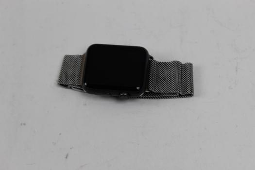 Apple Watch Sport 7000 Series, 42mm Aluminum, Stainless Steel Milanese Loop Band - Activation Locked Sold For Parts