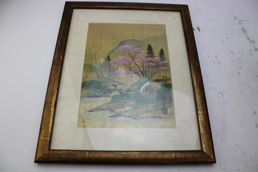 Artwork Of Lake Area W/foreign Writing On Bottom Right Corner