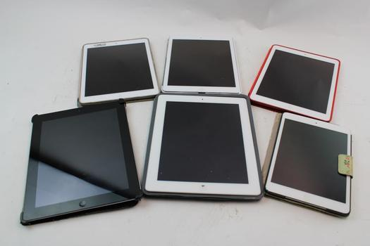 Assorted Apple Ipad Tablets; 6 Pieces