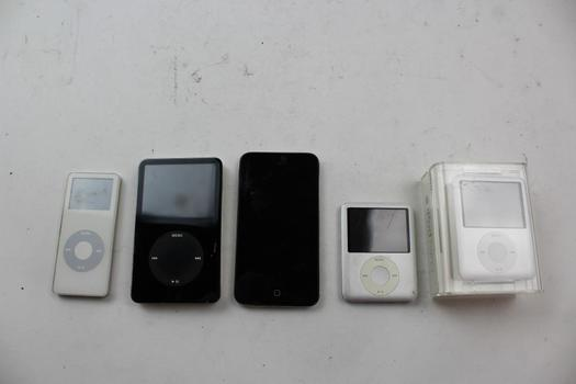 Assorted Apple Ipods; 5 Pieces