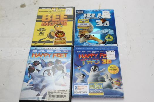 Assorted DVD/ Blu-ray Movies, 4 Pieces