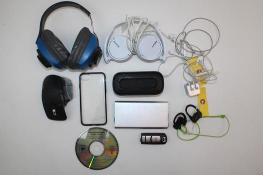 Assorted Headphones/earphones, Sdi Technologies Speaker, & More; 5+ Pieces