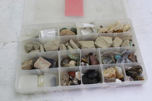 Assorted Rocks/stones In Plano Organizer Case; 20+ Pieces