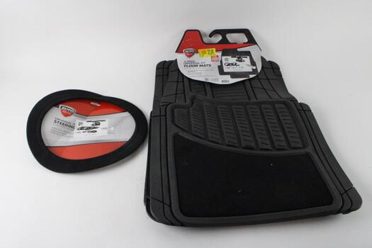 AutoDrive 3 Piece Car Mat Set And Steering Wheel Cover