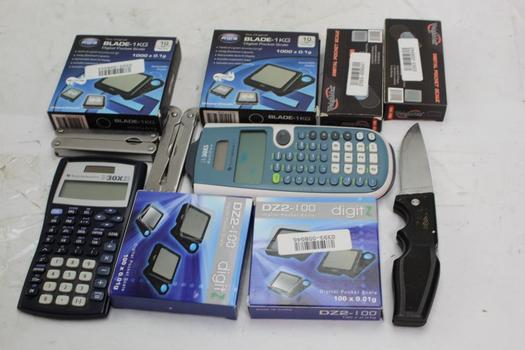 Aws, Digitz, Weigh Max Scales, Texas Instruments Calculators, Gerber Knife+ More 11 Pieces
