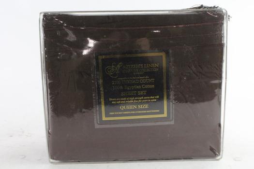 Azizeh's Linen Executive Collection By Dahdoul Egyptian Cotton Sheet Set, Queen Size