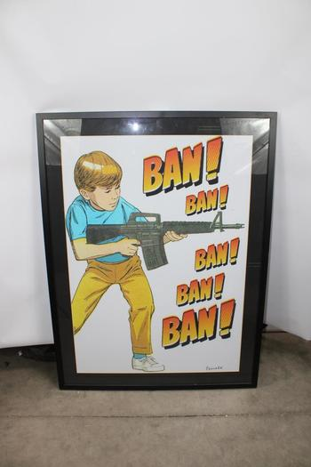 """ban! Ban!"" Print Of Boy Holding Gun"