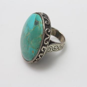 Barse Silver Ring With Turquoise Stone, Total Weight 29g