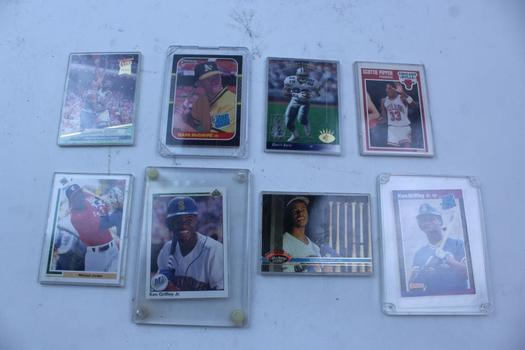 Basketball, Baseball, & Football Assorted Trading Cards In Hard Sleeves; 8 Pieces