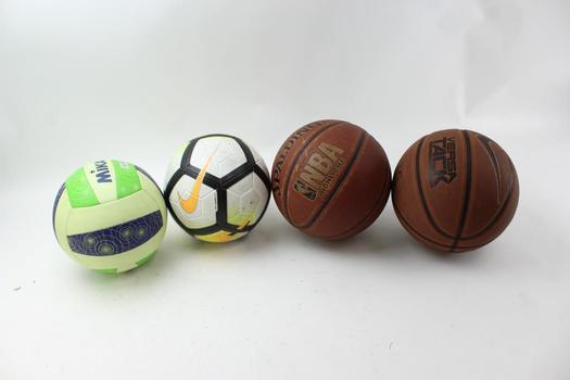 Basketballs, Soccer Ball, Volley Ball: Nike, Spalding, Mikasa: 4 Items