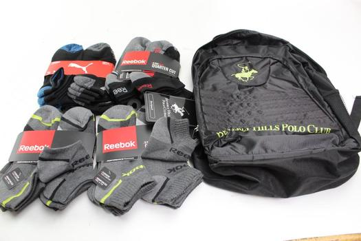 Beverly Hills Polo Backpack With Puma, Reebok Socks, 5 Pieces