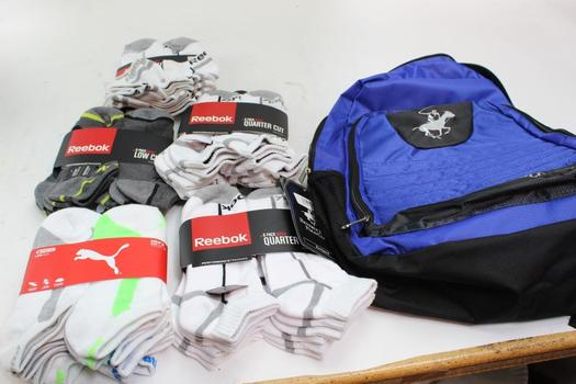Beverly Hills Polo Backpack With Puma, Reebok Socks, 6 Pieces