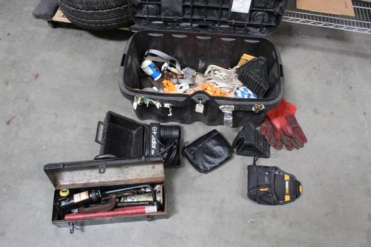Black Tool Box With Assorted Straps, Black And Decker Tire Inflator+ More 10+ Pieces