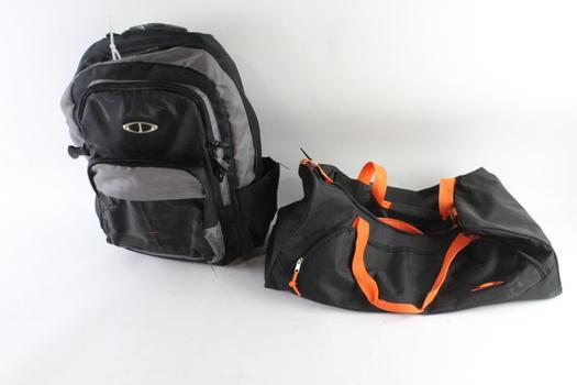 Black/Orange Duffle Bag And More, 2 Pieces