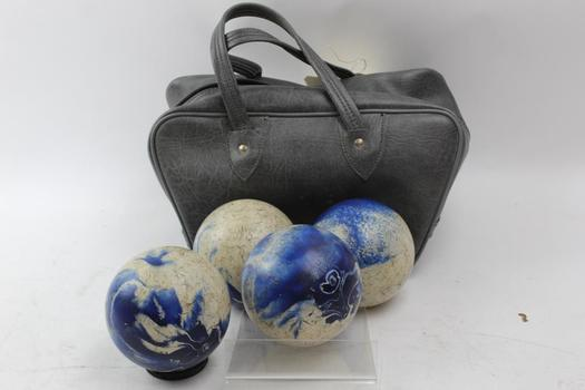 Bocce Ball And Carrying Bag: 4 Items