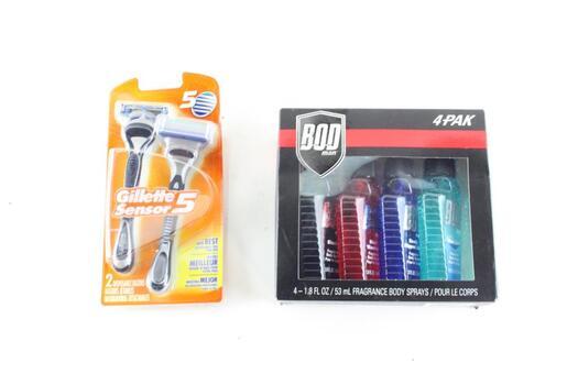 Bod For Men 4 Pack And Gillette Sensor 5 Shavers