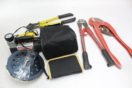 Bolt Cutters, Air Compressor, & More; 6 Pieces