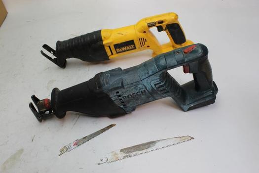 Bosch And Dewalt Cordless Reciprocating Saws, 2 Pieces