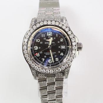 Breitling 10.78ct TW Diamond Colt Chronometre Watch - Evaluated By Independent Specialist