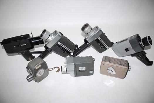 Bulk Lot, Vintage Film Movie Cameras 7 Pieces