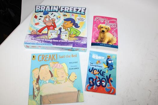 Bulk Of Kids Books And One Board Game, 4pcs