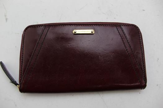 Burberry Bridle Leather Slim Ziggy Zip Around Wallet