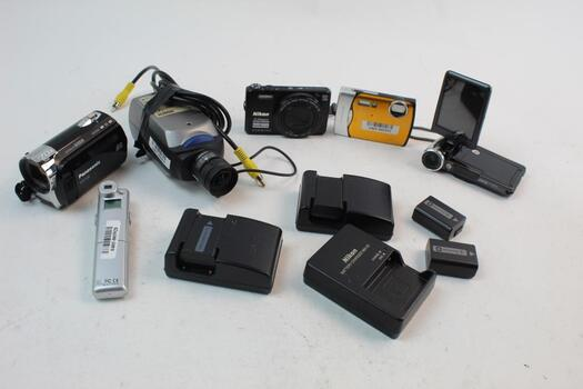 Camera Batterys And Chargers , Camcorders Etc 10 Plus Pieces