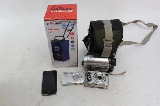 Cameras, Max Star Speaker, Iphone: Sony, Nikon: 5 Items