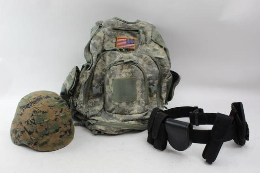 Camouflage Backpack, Helmet, Gun Belt, Holsters And More