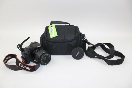 Canon EOS 250D Digital Camera With Case, Neck Strap, And Lens