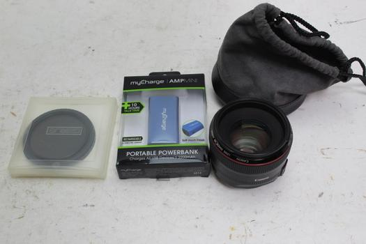 Canon Lens, Tiffen Polarizer, Genus Filter, Mycharge Powerbank 4 Pieces