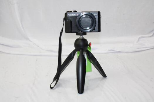 Canon PowerShot G7X Mark II Camera With Manfrotto PIXI Mini Tripod