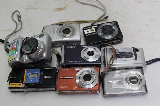 Canon, Sony, Kodak+ More Assorted Cameras 7 Pieces