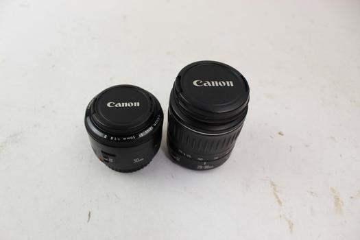 Canon Zoom Lens: EF 28-90mm 1:4-5.6 III,  EF 50mm 1:1.8 II: 2 Items