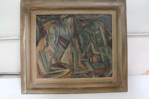 "Carl Morris ""Three Figures"" Framed Painting"