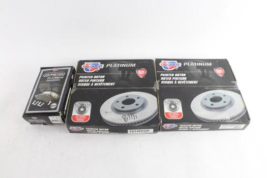 CarQuest Platinum Painted Rotors And Wearever Brake Pads, 3 Pieces