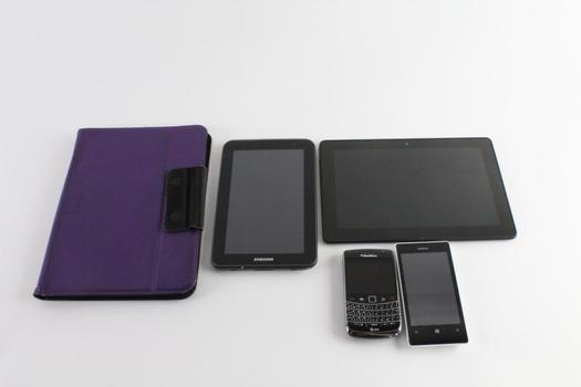 Cell Phone And Tablet Bulk Lot, 4 Pieces, Sold For Parts
