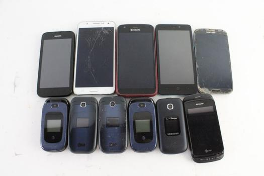 Cell Phone Lot,  10+  Pieces, Sold For Parts