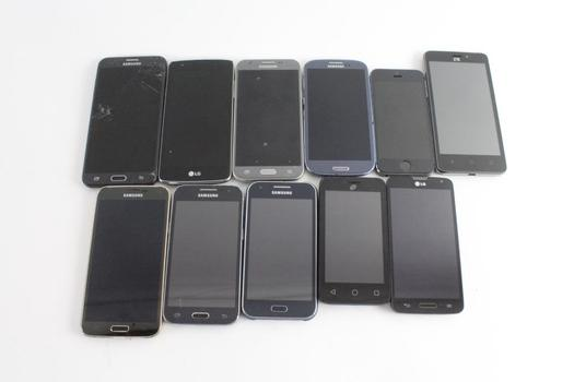 Cell Phone Lot, 11 Pieces, Sold For Parts