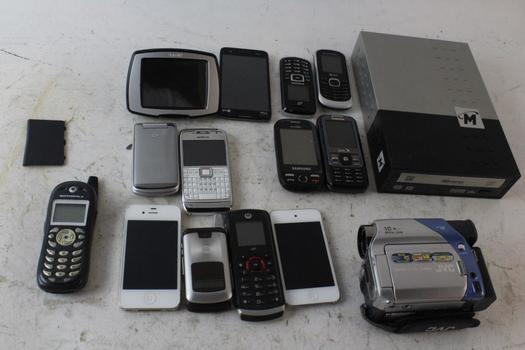 Cell Phone Lot, 11 Pieces, Sold For Parts And More