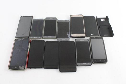Cell Phone Lot, 12 Pieces, Sold For Parts