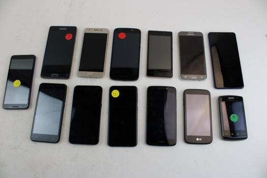 Cell Phone Lot, 13 Pieces, Sold For Parts