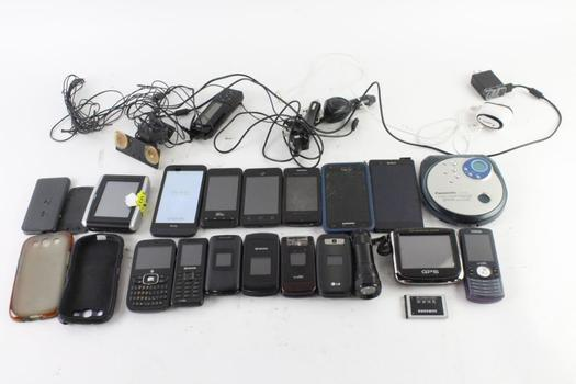 Cell Phone Lot, 13 Pieces, Sold For Parts And More