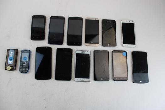 Cell Phone Lot, 14 Pieces, Sold For Parts