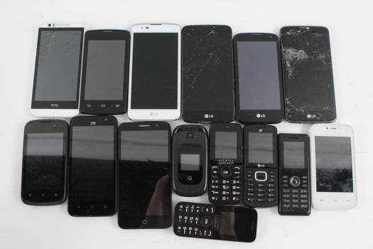 Cell Phone Lot, 15 Pieces, Sold For Parts