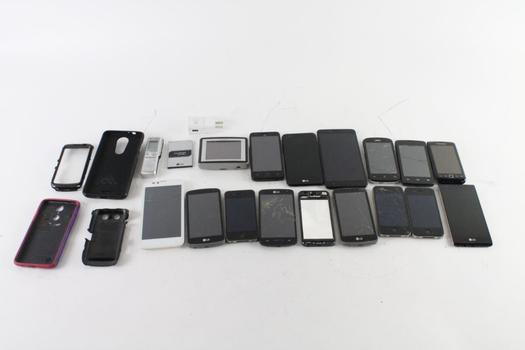 Cell Phone Lot, 15 Pieces, Sold For Parts And More