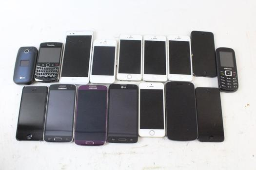 Cell Phone Lot, 16 Pieces, Sold For Parts